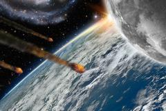 Asteroids flying over planet earth Stock Illustration