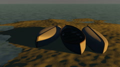 Time-lapse of boats on sandy beach, 3D animation - stock footage