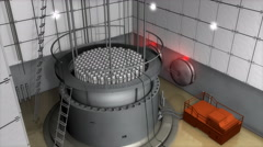 Nuclear reactor interior view, modern high end sefety measures. - stock footage