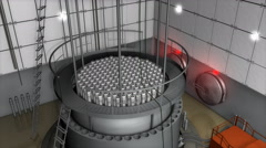 Nuclear reactor interior view, modern high end sefety measures. Stock Footage