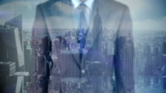 Businessman presenting futuristic concept with city overlay Stock Footage