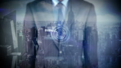 Businessman presenting social medial concept with city overlay Stock Footage