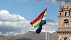 Flag Of Cusco Peru In Plaza De Armas Stock Footage