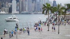 Tourist crowds at Victoria harbor Hong Kong 4K Stock Footage