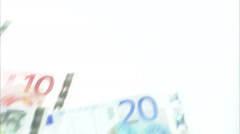 Euro bills of varying denominations. Stock Footage