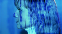 Projection, light effect, in the face of a woman, Sweden. Stock Footage