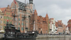 Gdansk, Poland - old town. Galleon ship on Motlwa river Stock Footage