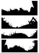 silhouette set of a demolition site industrial skyline - stock illustration