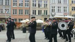 Brass orchestra in the old town in Gdansk, Poland Stock Footage