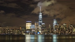 New York City Time Lapse of the World Trade Center at night with fog and clouds Stock Footage