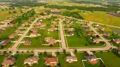 Beautiful, Affluent Suburban Neighborhood in Morning Light, Aerial View Stock Footage