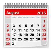 August 2015 Stock Illustration