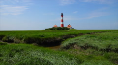 Westerhever Lighthouse Stock Footage