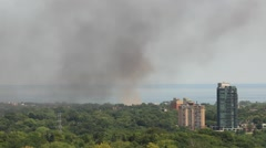 Fire in City Residential Area Stock Footage