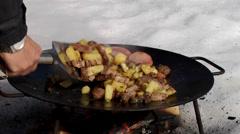 Food roasted on fire, Lycksele, Sweden. Stock Footage