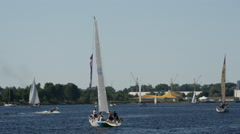 Sailboats at the River Daugava in Riga Latvia Stock Footage