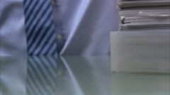 Man taking a piece of paper, Sweden. - stock footage
