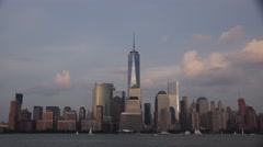 NYC Time Lapse of the World Trade Center and Sunset with Full Moon Rise Stock Footage