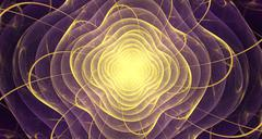 Violet Fractal with gold color in the middle - stock illustration