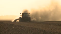 CALIFORNIA DROUGHT  2015 TRACTOR PLOWING DUST AGRICULTURE FARM FIELD IN CENTRAL Stock Footage