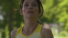 Scandinavian woman jogging, Sweden. - stock footage