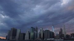 NYC Sunset Time Lapse of the World Trade Center and Downtown Manhattan Stock Footage