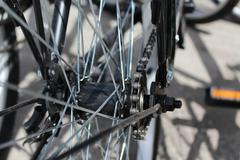 Bicycle wheel with details, close-up - stock photo