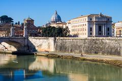 view of the Tiber in Rome, Italy - stock photo