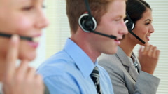 Business team working in call center Stock Footage