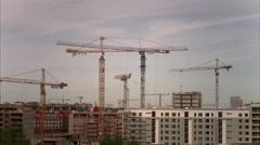 Building cranes in Stockholm, Sweden. Stock Footage