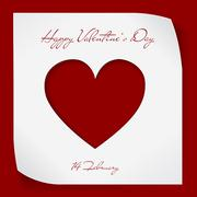 Valentines Day paper background with red cutting heart. - stock illustration