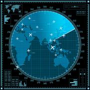 Blue radar screen with planes and world map - stock illustration