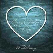 Valentines Day blue grunge background with white heart. - stock illustration