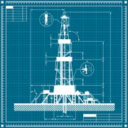 Blueprint of Oil rig silhouette Piirros