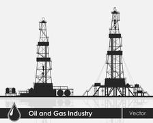 Set of oil rigs silhouettes - stock illustration