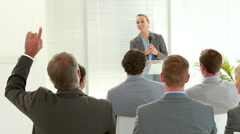 Business people listening during conference - stock footage
