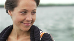 A woman on a boat, Stockholm archipelago, Sweden. Stock Footage