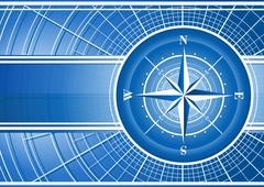 Blue background with compass rose. - stock illustration