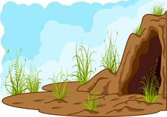 Landscape with cave, grass and tracks of smb. Stock Illustration