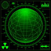 Radar screen with digital globe and scale. - stock illustration
