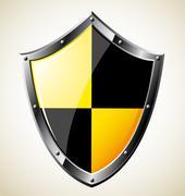 Steel glossy shield. Vector EPS8. Stock Illustration
