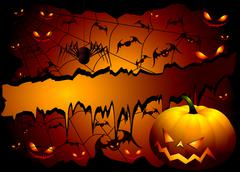 Stock Illustration of Halloween background with pumpkin and spider