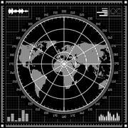 Radar screen.  Black and white vector illustration. - stock illustration
