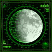 Radar screen with Moon. Vector EPS10. Stock Illustration