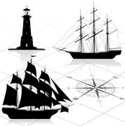 Set of nautical design elements. All images could be easy modified. - stock illustration