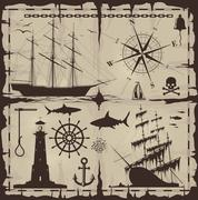 Set of nautical design elements. No trace. All images could be easy modified. - stock illustration