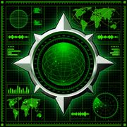 Radar screen with globe. Vector EPS10. - stock illustration