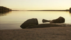 Rocks in the edge of the water, Blido, Stockholm archipelago, Sweden. Stock Footage