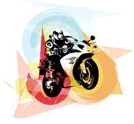 Extreme motocross racer by motorcycle - stock illustration