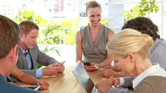 Stock Video Footage of Business people working together during meeting